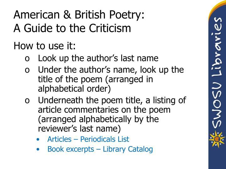 American & British Poetry: