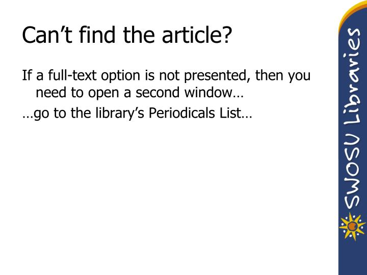 Can't find the article?