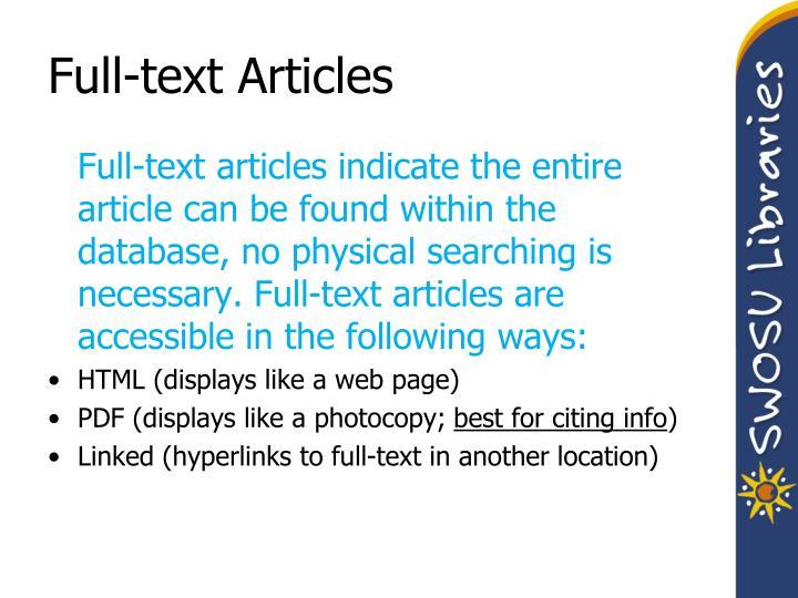 Full-text Articles