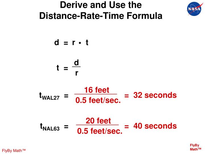 Derive and Use the     Distance-Rate-Time Formula
