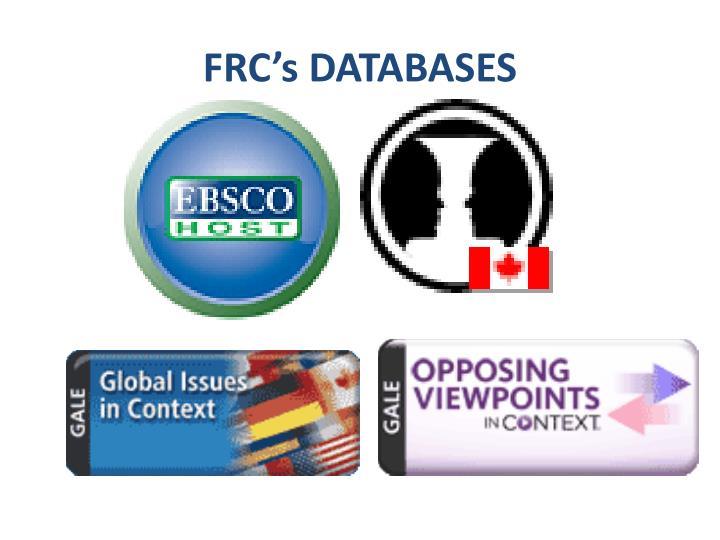FRC's DATABASES