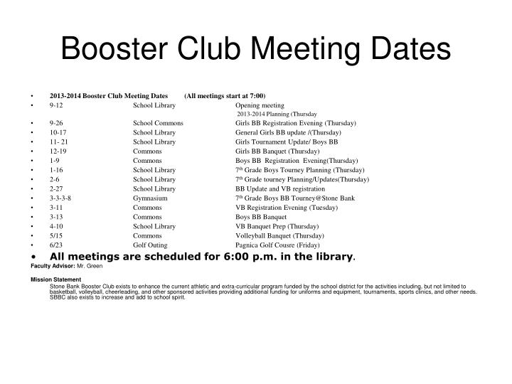 Booster Club Meeting Dates