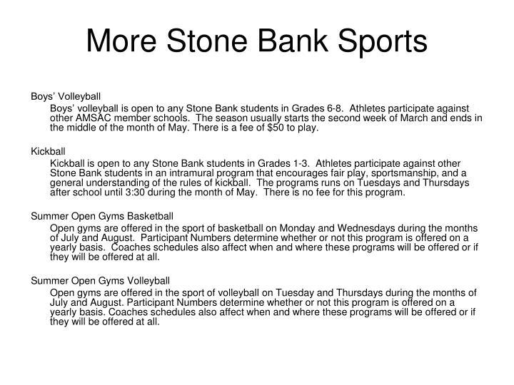 More Stone Bank Sports