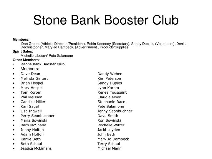 Stone Bank Booster Club