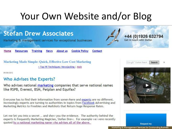 Your Own Website and/or Blog