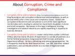 about corruption crime and compliance