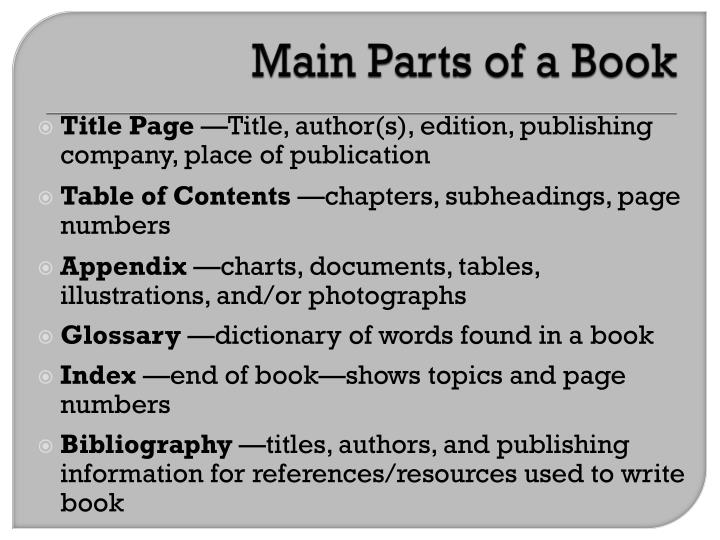 Main Parts of a Book