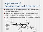adjustments of exposure level and filter level 1