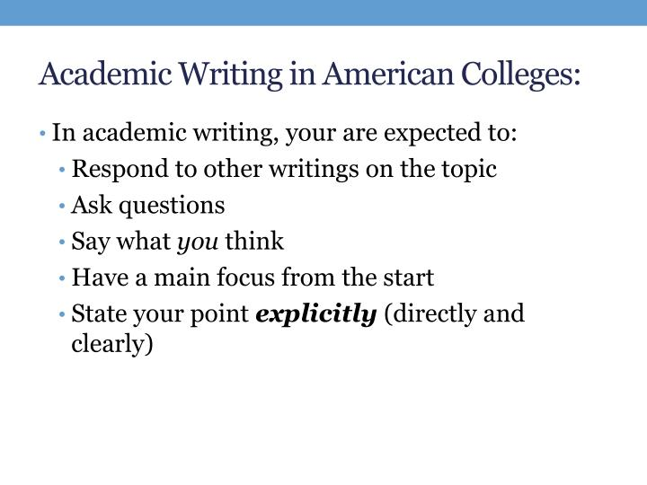 Academic writing in american colleges