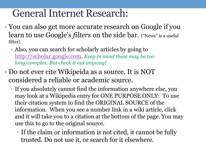 General Internet Research: