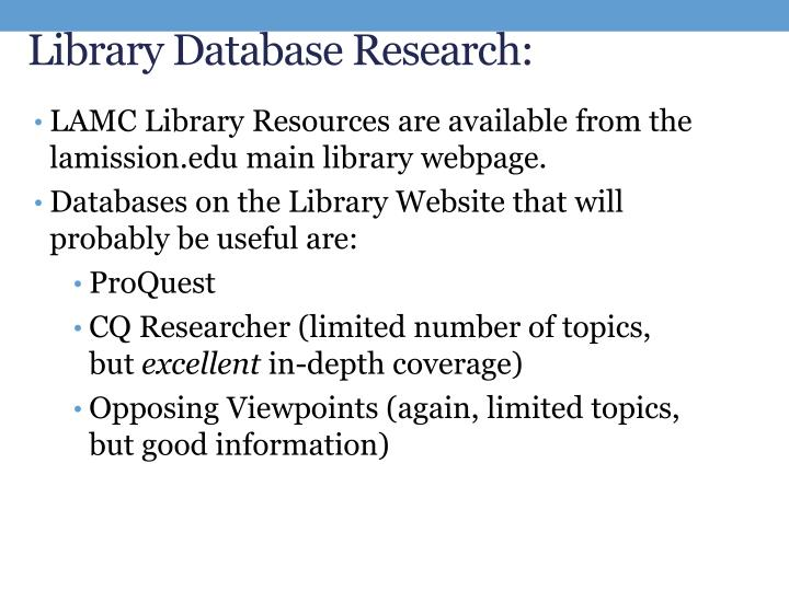 Library Database Research: