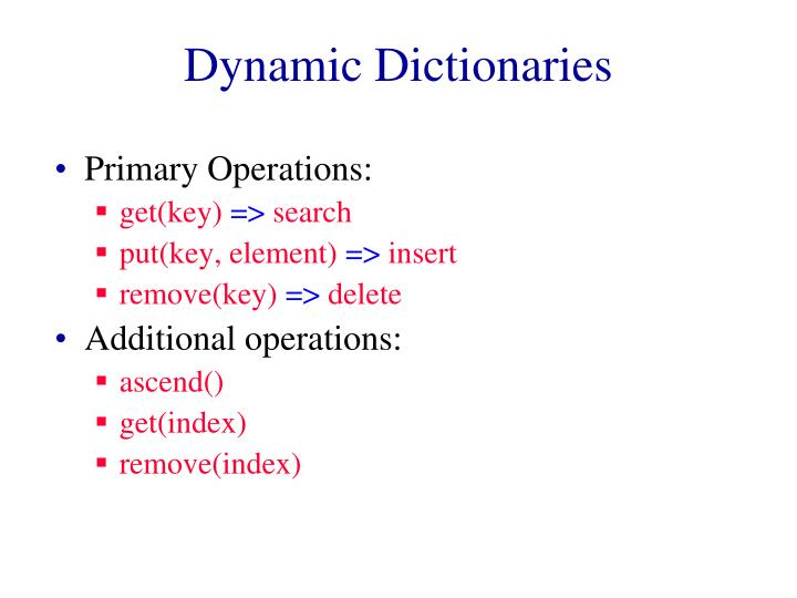 dynamic dictionaries