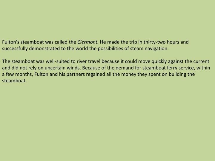 Fulton's steamboat was
