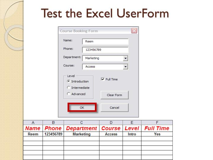 Test the Excel