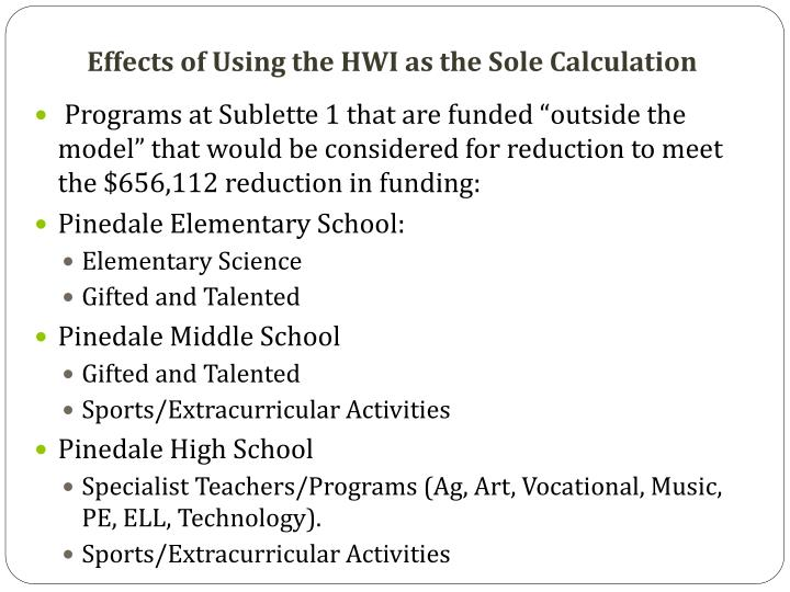 Effects of Using the HWI as the Sole Calculation