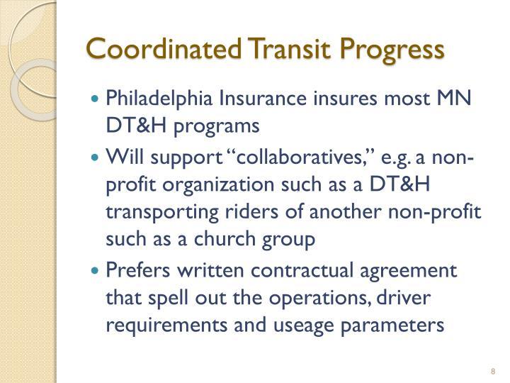 Coordinated Transit Progress