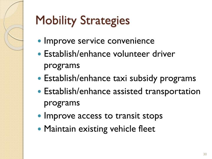 Mobility Strategies