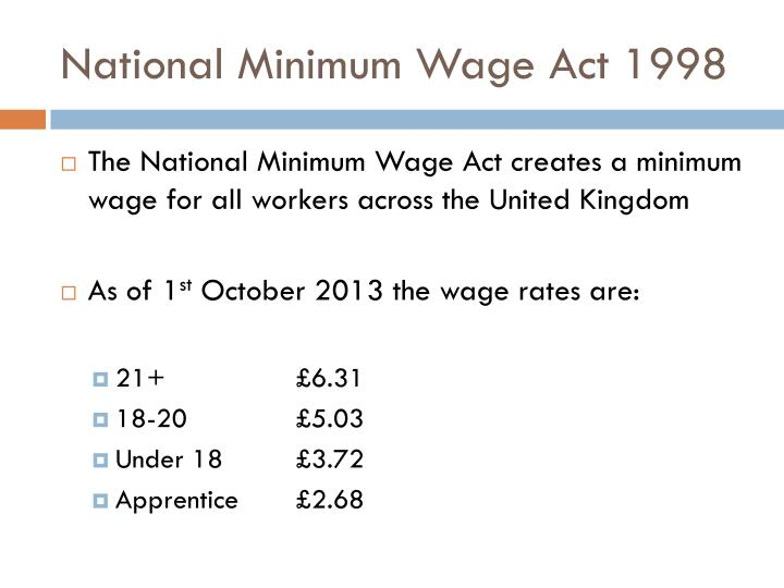 National Minimum Wage Act 1998