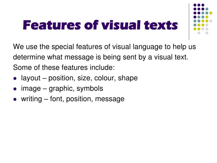 Features of visual texts