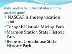 state landmarks historical sites and top vacation spots