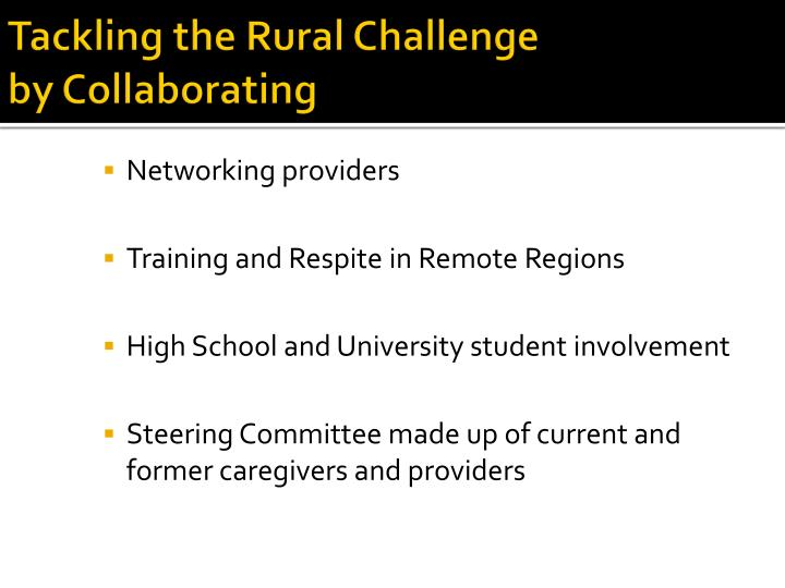 Tackling the Rural Challenge