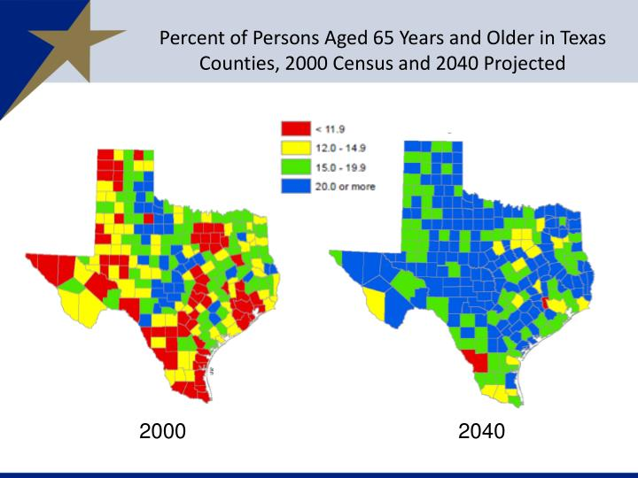 Percent of Persons Aged 65 Years and Older in Texas Counties, 2000 Census and 2040 Projected