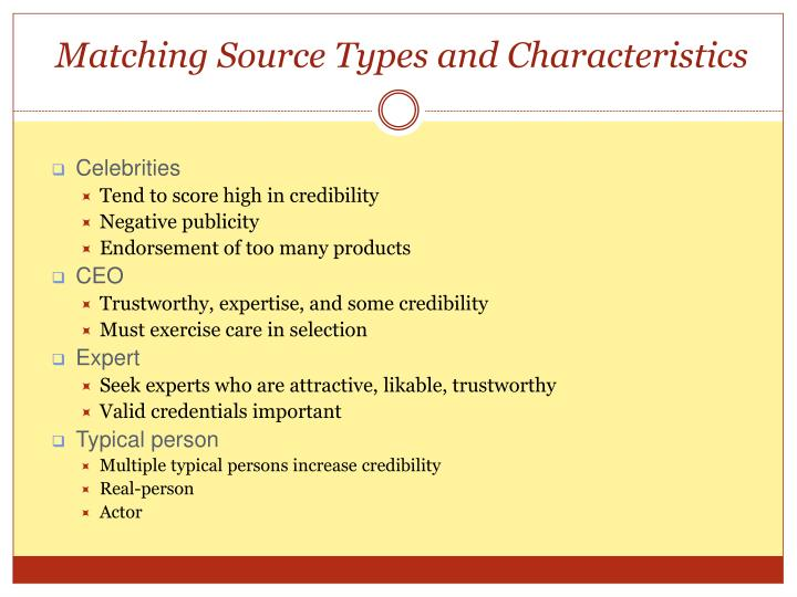 Matching Source Types and Characteristics