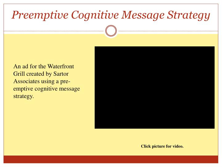 Preemptive Cognitive Message Strategy