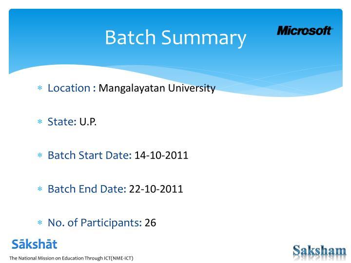 Batch summary