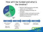 how will it be funded and what is the timeline1
