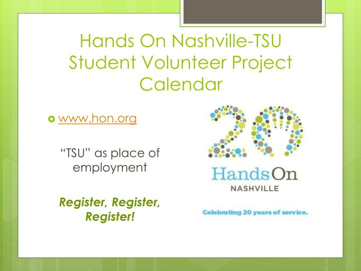 Hands On Nashville-TSU Student Volunteer Project Calendar