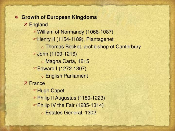 Growth of European Kingdoms
