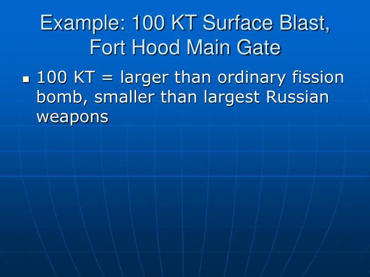 Example: 100 KT Surface Blast, Fort Hood Main Gate