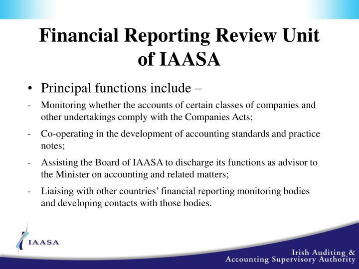Financial Reporting Review Unit of IAASA