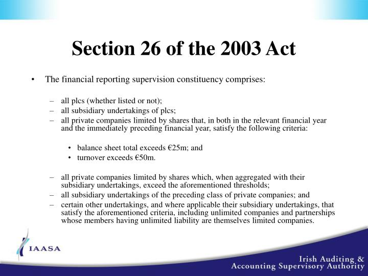 Section 26 of the 2003 Act