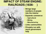 impact of steam engine railroads 1836