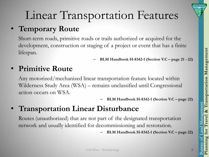 Linear Transportation Features