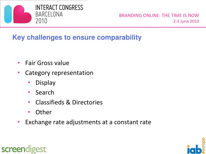 Key challenges to ensure comparability