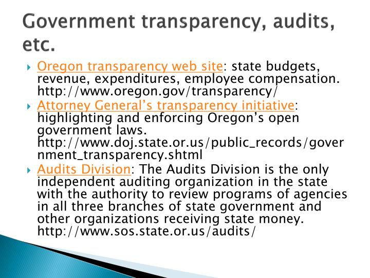 Government transparency, audits, etc.