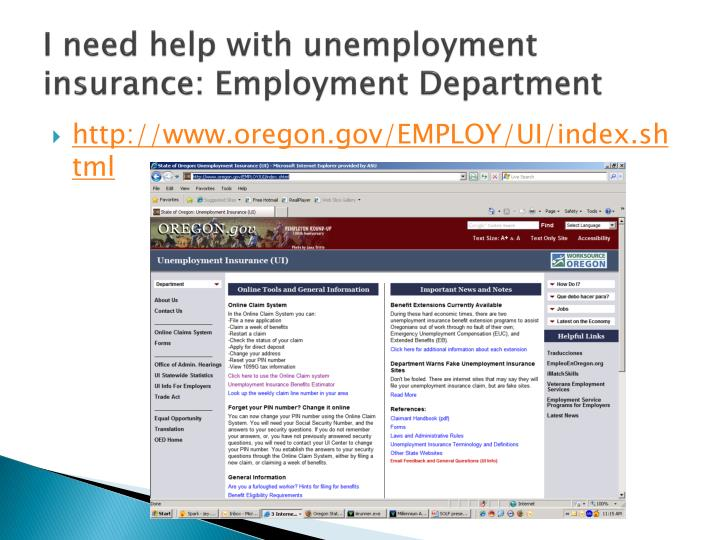 I need help with unemployment insurance: Employment Department