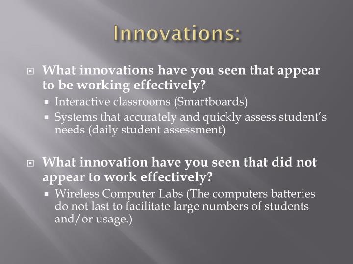 Innovations: