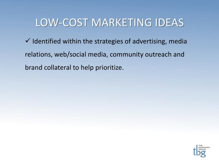 LOW-COST MARKETING IDEAS