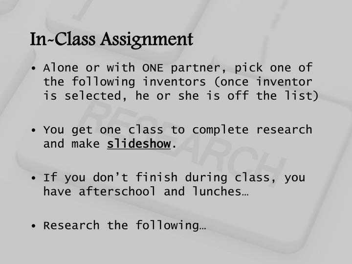 In-Class Assignment