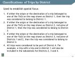 classifications of trips by district