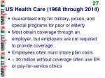 us health care 1968 through 2014