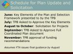 schedule for plan update and solicitation