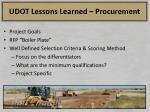 udot lessons learned procurement