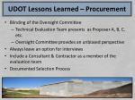 udot lessons learned procurement1