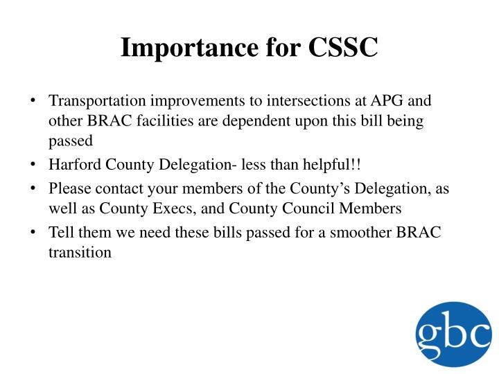 Importance for CSSC