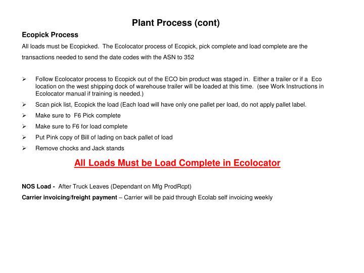 Plant Process (cont)